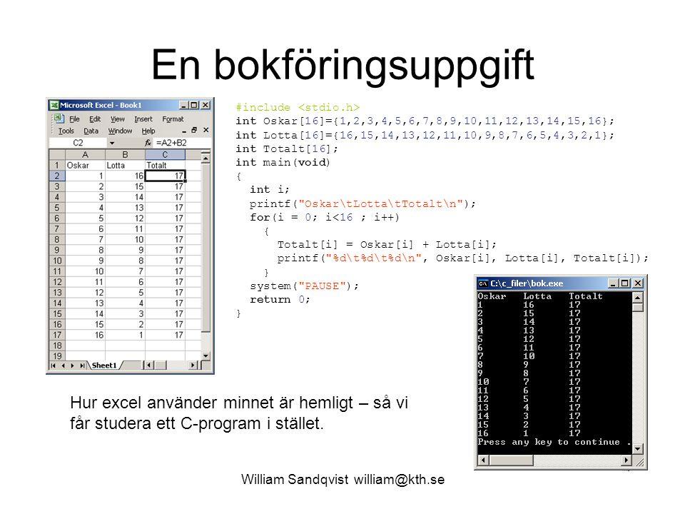 William Sandqvist william@kth.se En bokföringsuppgift #include int Oskar[16]={1,2,3,4,5,6,7,8,9,10,11,12,13,14,15,16}; int Lotta[16]={16,15,14,13,12,1