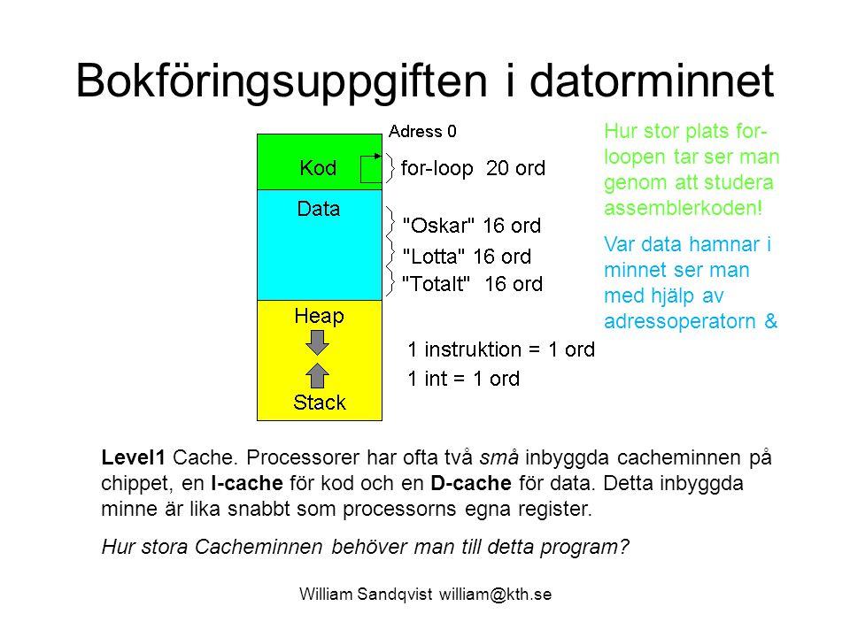 William Sandqvist william@kth.se Bokföringsuppgiften i datorminnet Level1 Cache. Processorer har ofta två små inbyggda cacheminnen på chippet, en I-ca