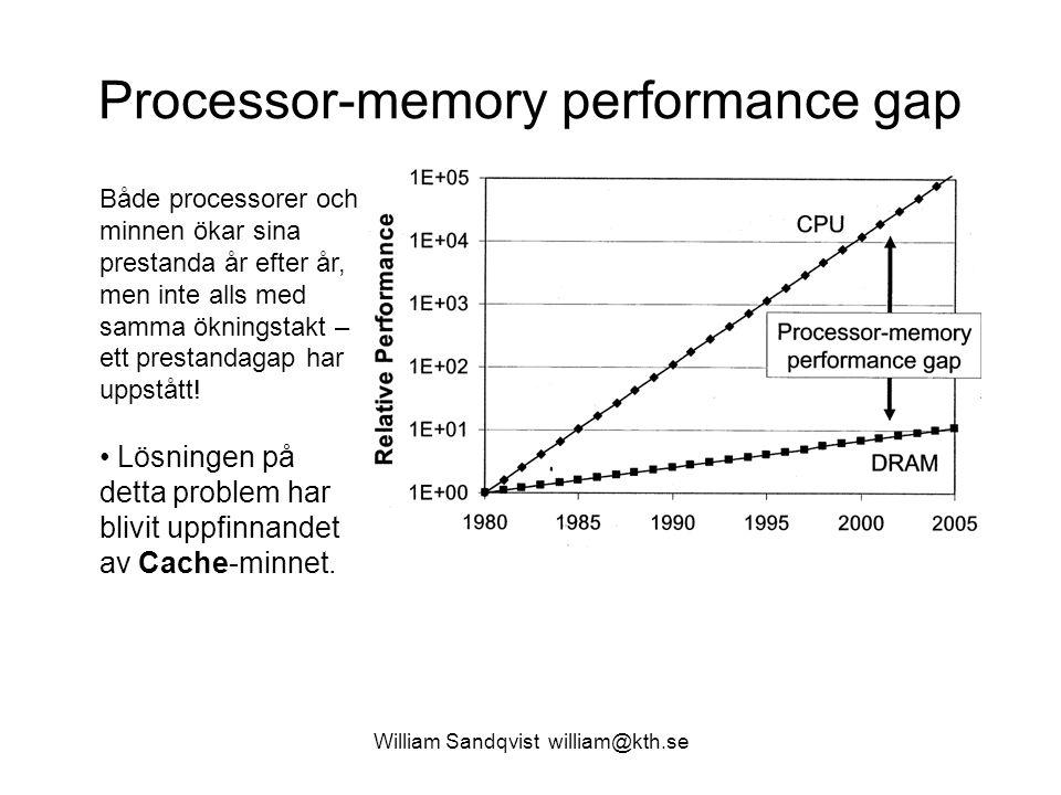 William Sandqvist william@kth.se Processor-memory performance gap Både processorer och minnen ökar sina prestanda år efter år, men inte alls med samma