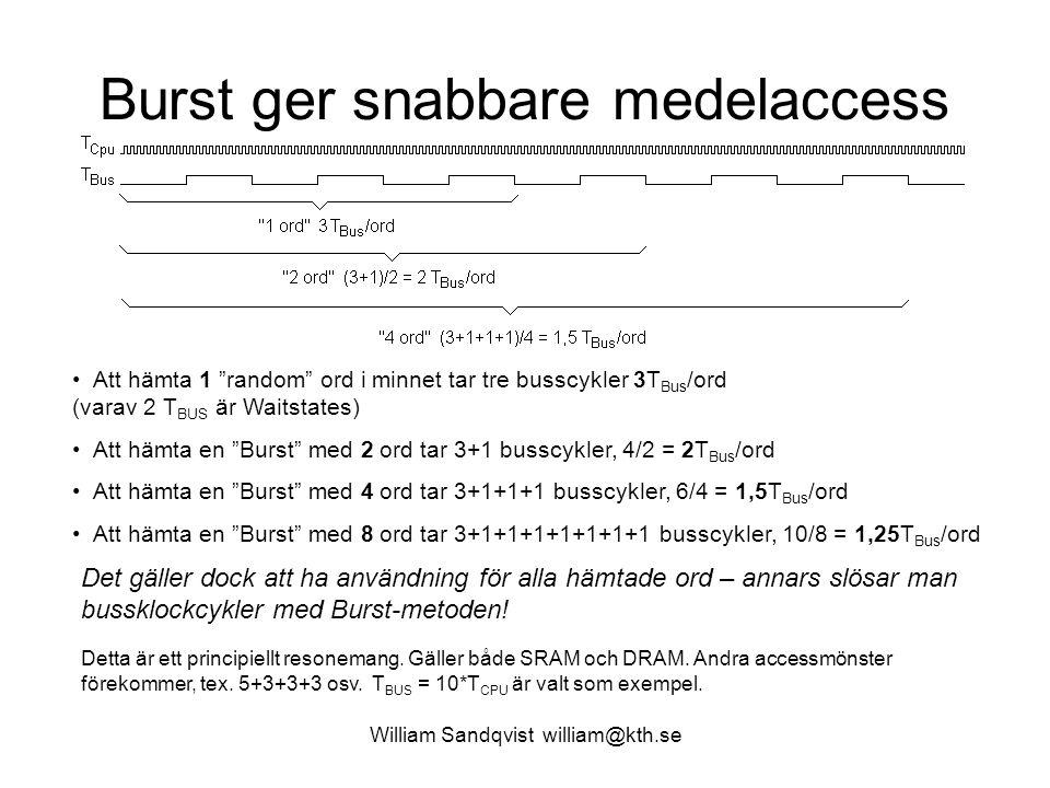 """William Sandqvist william@kth.se Burst ger snabbare medelaccess Att hämta 1 """"random"""" ord i minnet tar tre busscykler 3T Bus /ord (varav 2 T BUS är Wai"""