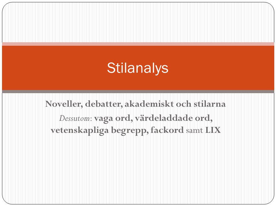 Noveller, debatter, akademiskt och stilarna Dessutom: vaga ord, värdeladdade ord, vetenskapliga begrepp, fackord samt LIX Stilanalys
