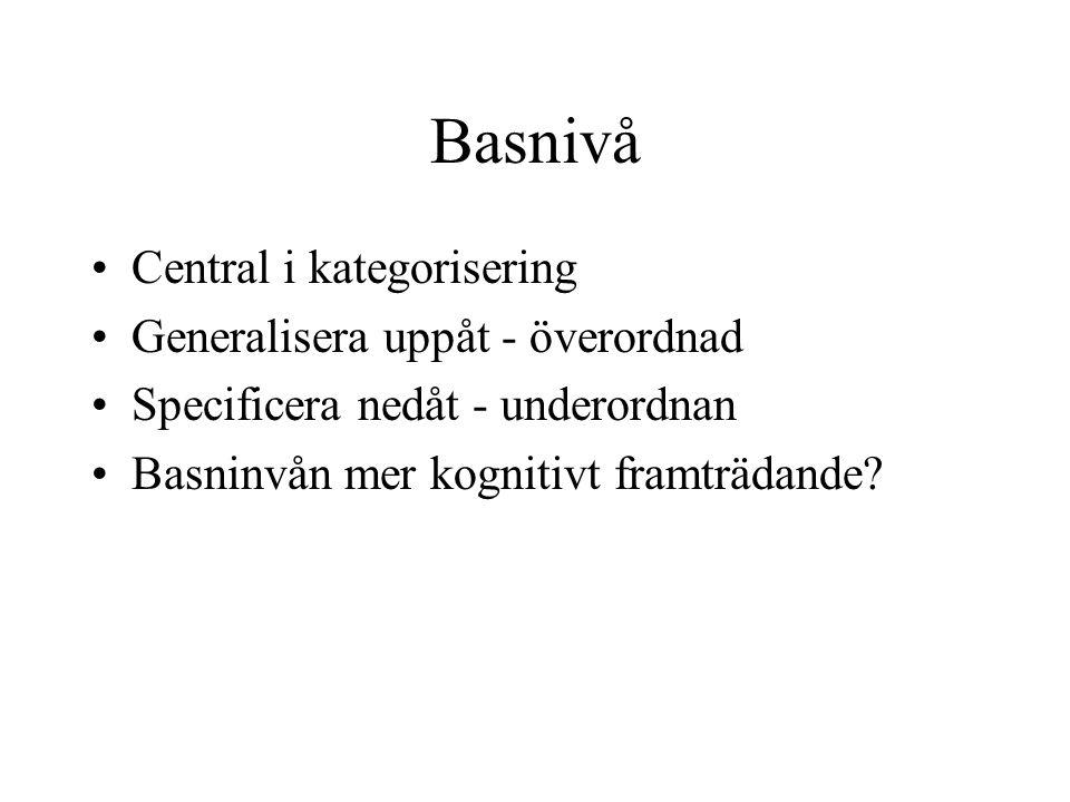 Basnivå Central i kategorisering Generalisera uppåt - överordnad Specificera nedåt - underordnan Basninvån mer kognitivt framträdande?