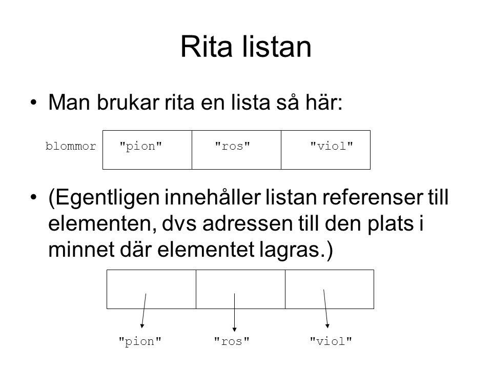 Rita listan Man brukar rita en lista så här: (Egentligen innehåller listan referenser till elementen, dvs adressen till den plats i minnet där elementet lagras.) blommor pion ros viol pion ros viol