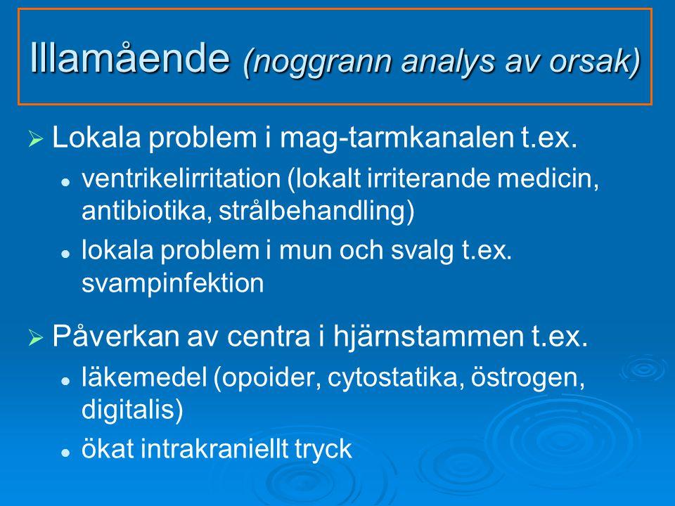 Illamående (noggrann analys av orsak)   Lokala problem i mag-tarmkanalen t.ex.