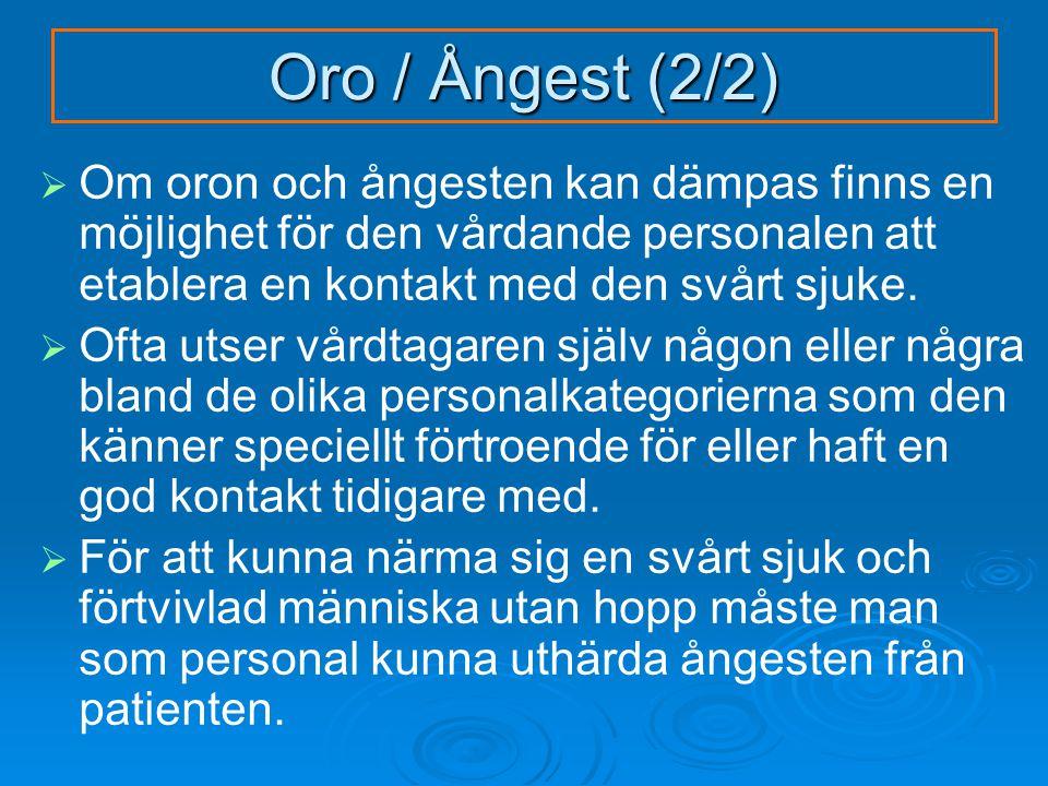 Oro / Ångest (2/2)   Om oron och ångesten kan dämpas finns en möjlighet för den vårdande personalen att etablera en kontakt med den svårt sjuke.