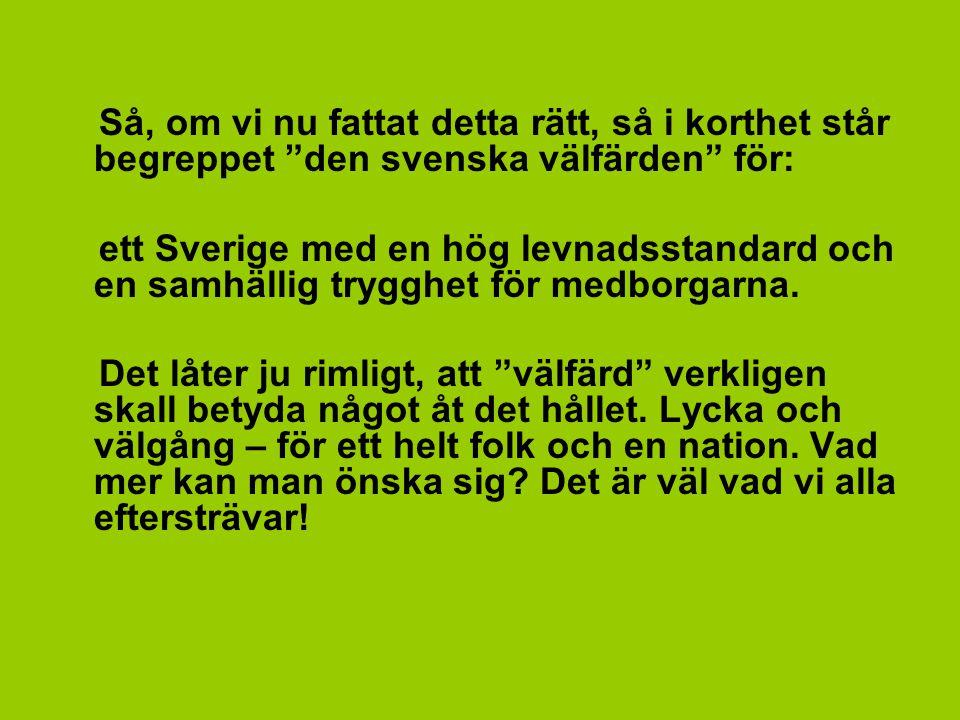 """Så, om vi nu fattat detta rätt, så i korthet står begreppet """"den svenska välfärden"""" för: ett Sverige med en hög levnadsstandard och en samhällig trygg"""