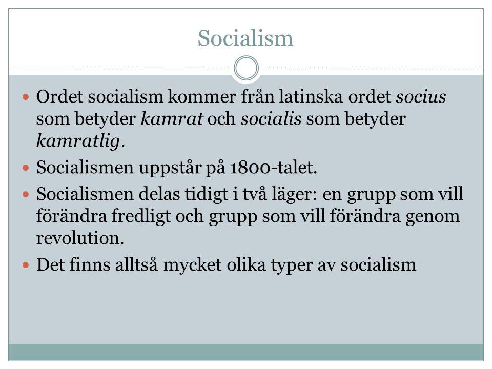 Socialism Ordet socialism kommer från latinska ordet socius som betyder kamrat och socialis som betyder kamratlig. Socialismen uppstår på 1800-talet.