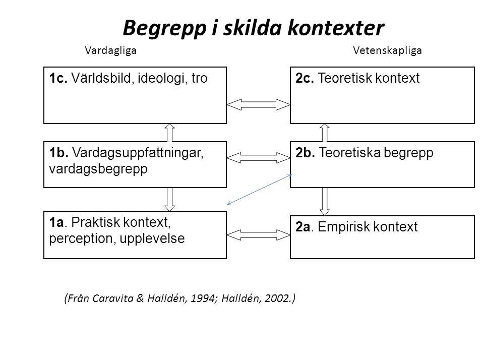 2c. Teoretisk kontext1c. Världsbild, ideologi, tro 1b. Vardagsuppfattningar, vardagsbegrepp 2b. Teoretiska begrepp 1a. Praktisk kontext, perception, u