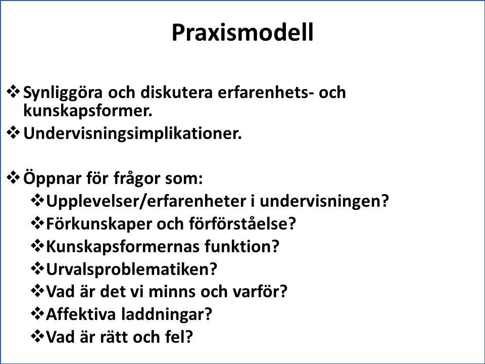 Praxismodell  Synliggöra och diskutera erfarenhets- och kunskapsformer.  Undervisningsimplikationer.  Öppnar för frågor som:  Upplevelser/erfarenh