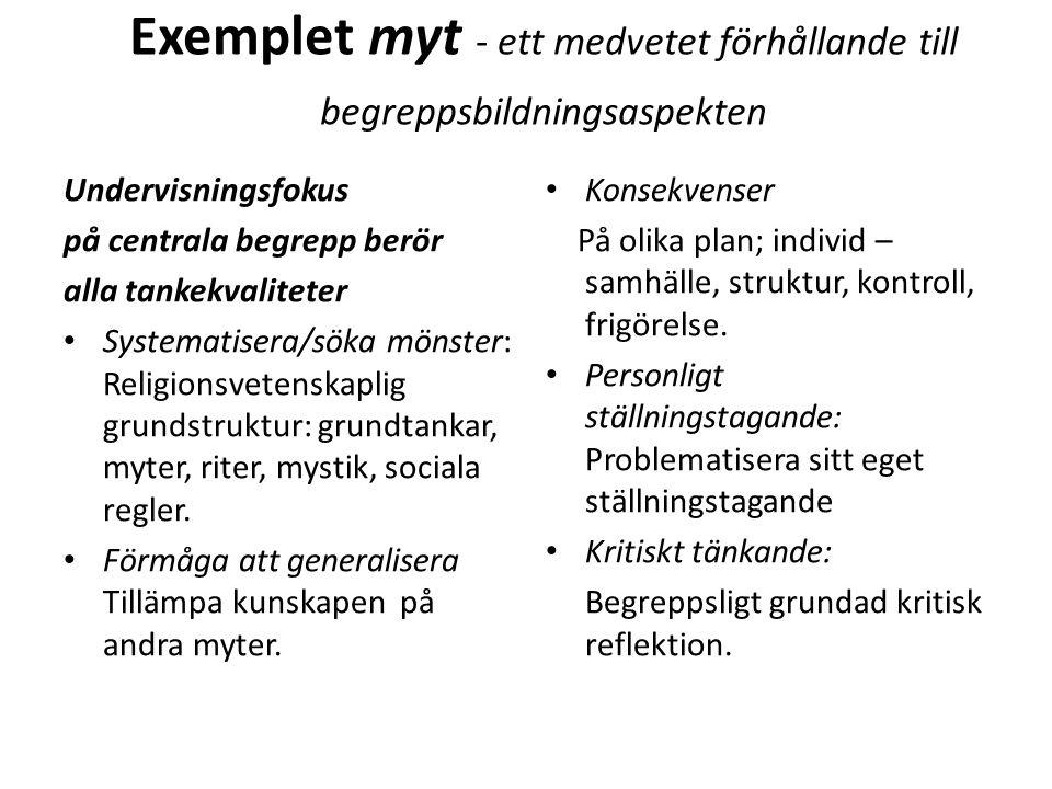 Exemplet myt - ett medvetet förhållande till begreppsbildningsaspekten Undervisningsfokus på centrala begrepp berör alla tankekvaliteter Systematisera