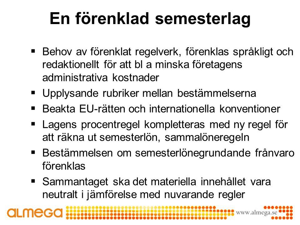 En förenklad semesterlag  Behov av förenklat regelverk, förenklas språkligt och redaktionellt för att bl a minska företagens administrativa kostnader