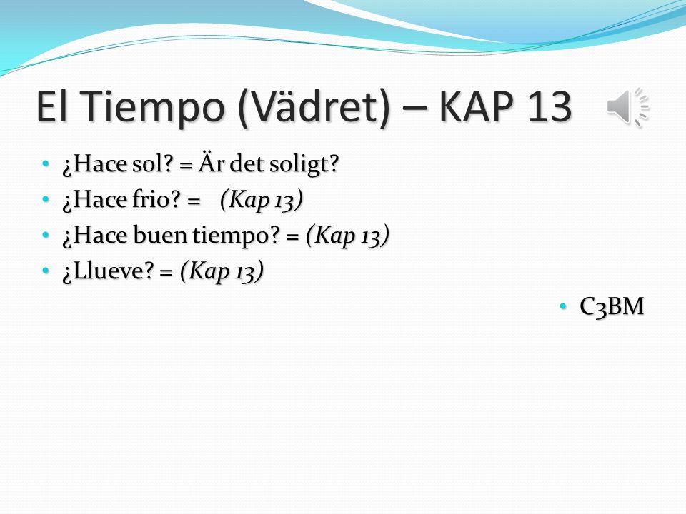 El Tiempo (Vädret) – KAP 13 ¿Hace sol.= Är det soligt.