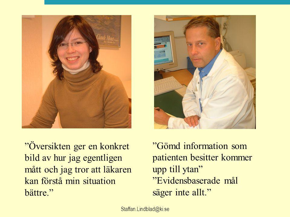 Staffan.Lindblad@ki.se Översikten ger en konkret bild av hur jag egentligen mått och jag tror att läkaren kan förstå min situation bättre. Gömd information som patienten besitter kommer upp till ytan Evidensbaserade mål säger inte allt.