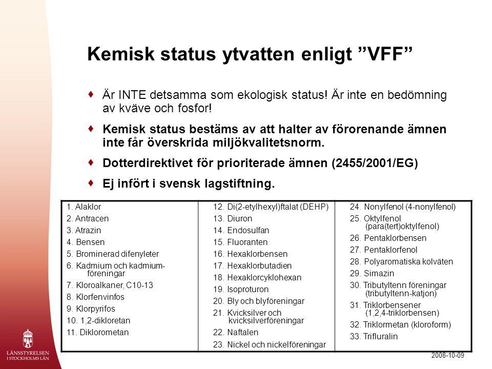 """2008-10-09 Kemisk status ytvatten enligt """"VFF""""  Är INTE detsamma som ekologisk status! Är inte en bedömning av kväve och fosfor!  Kemisk status best"""