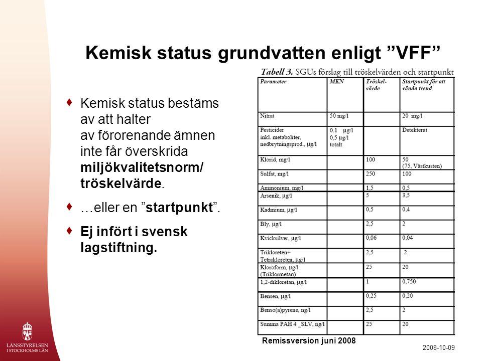 """2008-10-09 Kemisk status grundvatten enligt """"VFF""""  Kemisk status bestäms av att halter av förorenande ämnen inte får överskrida miljökvalitetsnorm/ t"""