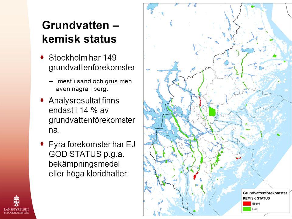 2008-10-09 Grundvatten – kemisk status  Stockholm har 149 grundvattenförekomster – mest i sand och grus men även några i berg.  Analysresultat finns