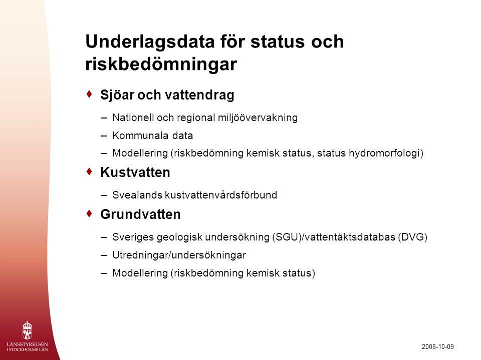 2008-10-09 Underlagsdata för status och riskbedömningar  Sjöar och vattendrag –Nationell och regional miljöövervakning –Kommunala data –Modellering (