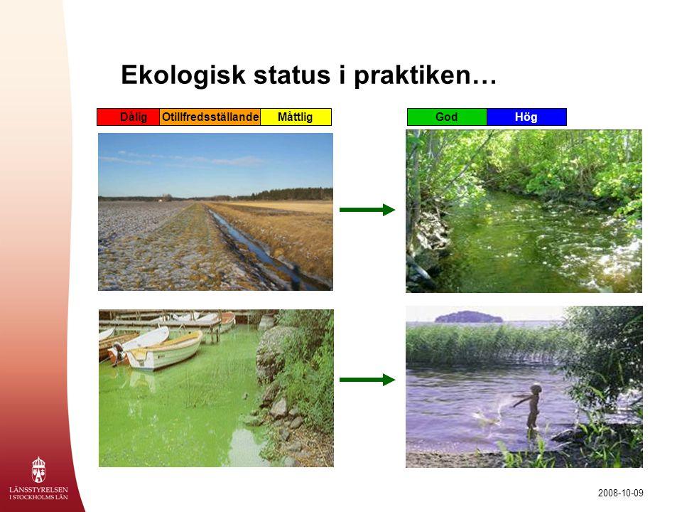 2008-10-09 Vattenförekomster  Sjöar och vattendrag –Sjöar > 1 km 2 –Större vattendrag, samt vattendrag som sammanbinder sjöarna  Kust –Omfattar allt kustvatten  Grundvatten –Främst grusåsar/ grusavlagringar med god vattenkapacitet.