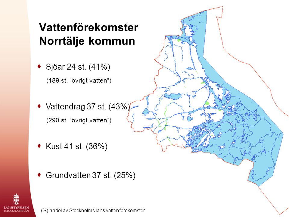 "2008-10-09 Vattenförekomster Norrtälje kommun  Sjöar 24 st. (41%) (189 st. ""övrigt vatten"")  Vattendrag 37 st. (43%) (290 st. ""övrigt vatten"")  Kus"