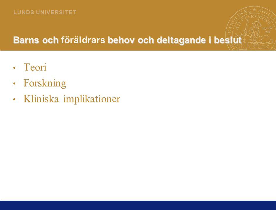 19 L U N D S U N I V E R S I T E T Barns behov under sjukhusvistelse Barns behov under sjukhusvistelse (Runeson, Hallström, Elander & Hermerén 2002)