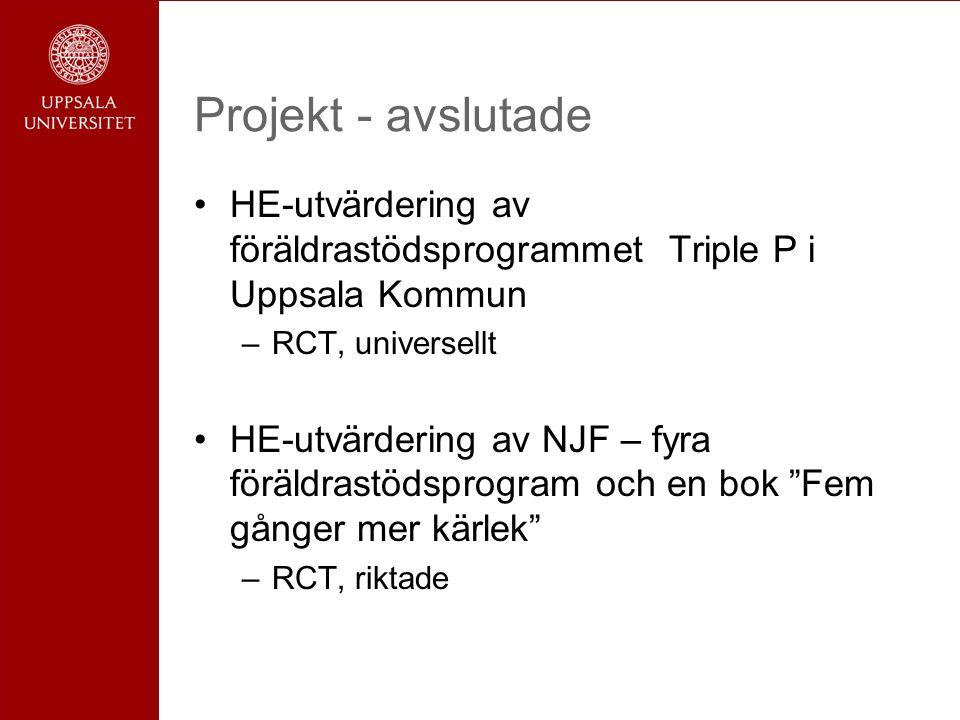 Projekt - avslutade HE-utvärdering av föräldrastödsprogrammet Triple P i Uppsala Kommun –RCT, universellt HE-utvärdering av NJF – fyra föräldrastödsprogram och en bok Fem gånger mer kärlek –RCT, riktade