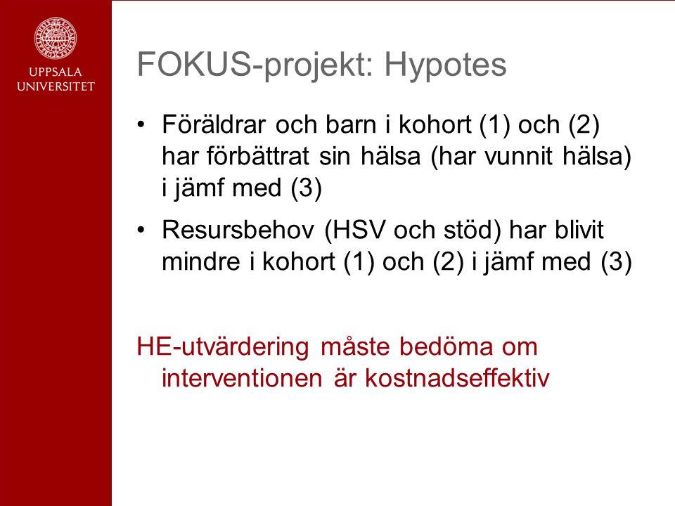FOKUS-projekt: Hypotes Föräldrar och barn i kohort (1) och (2) har förbättrat sin hälsa (har vunnit hälsa) i jämf med (3) Resursbehov (HSV och stöd) har blivit mindre i kohort (1) och (2) i jämf med (3) HE-utvärdering måste bedöma om interventionen är kostnadseffektiv