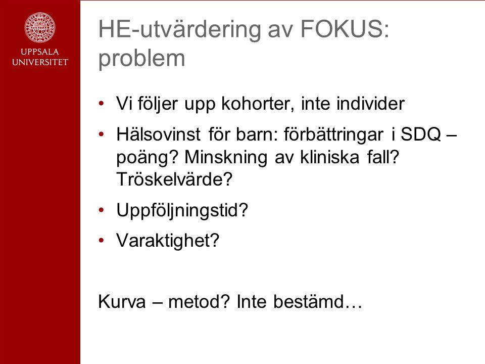 HE-utvärdering av FOKUS: problem Vi följer upp kohorter, inte individer Hälsovinst för barn: förbättringar i SDQ – poäng.