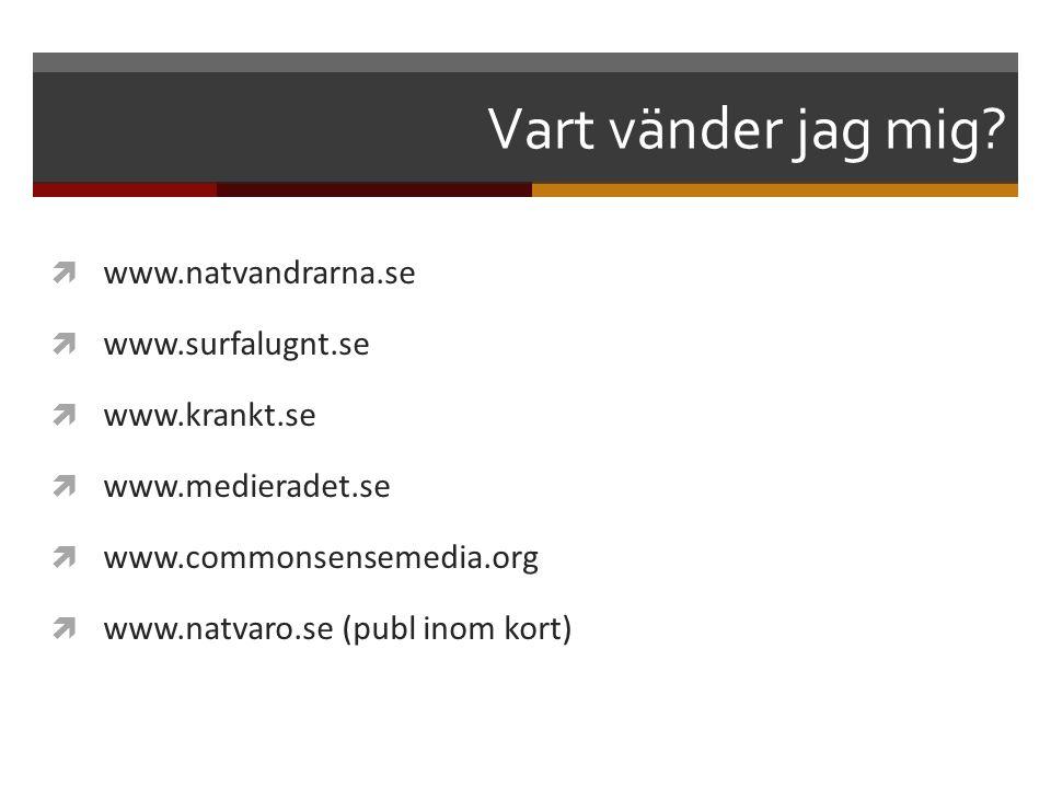 Vart vänder jag mig?  www.natvandrarna.se  www.surfalugnt.se  www.krankt.se  www.medieradet.se  www.commonsensemedia.org  www.natvaro.se (publ i