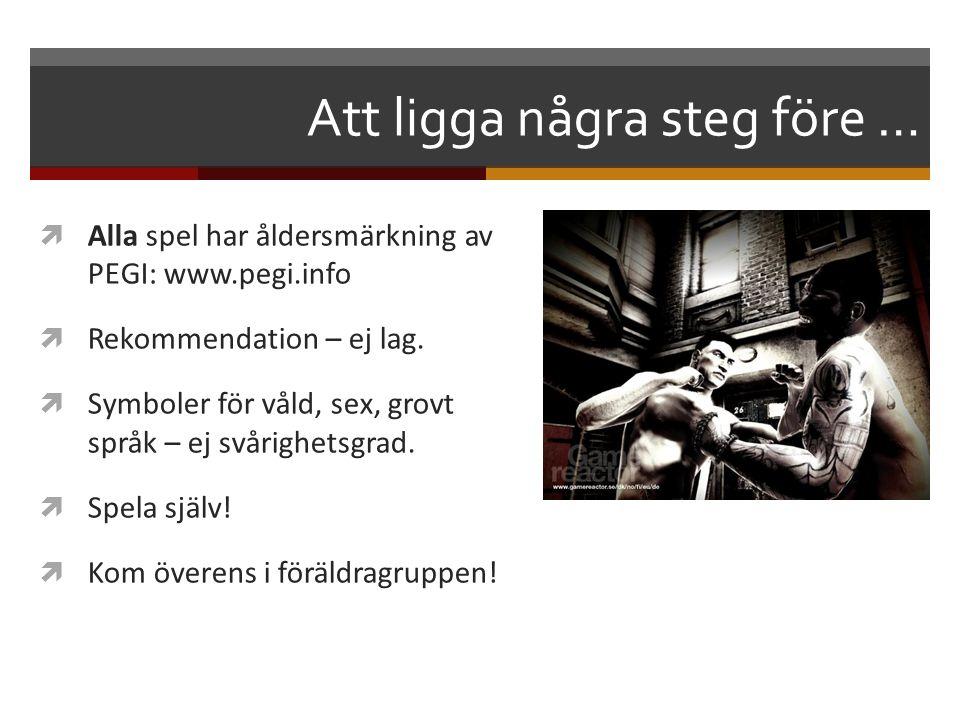 Att ligga några steg före …  Alla spel har åldersmärkning av PEGI: www.pegi.info  Rekommendation – ej lag.