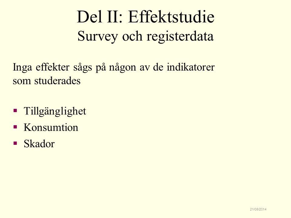 21/08/2014  Tillgänglighet  Konsumtion  Skador Del II: Effektstudie Survey och registerdata Inga effekter sågs på någon av de indikatorer som studerades
