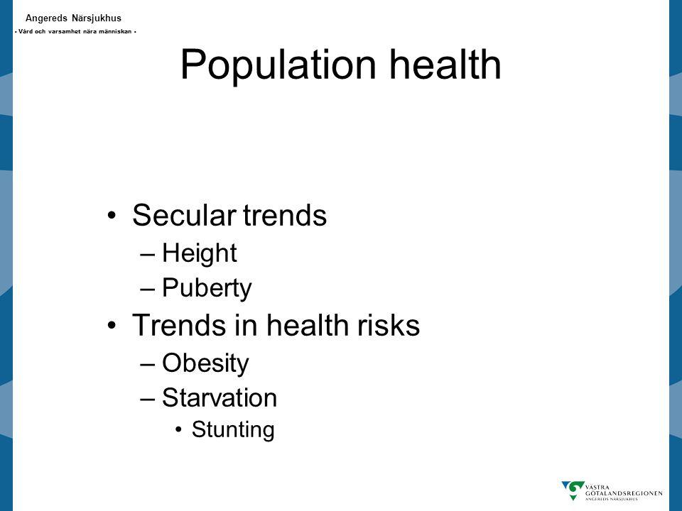 Angereds Närsjukhus - Vård och varsamhet nära människan - Population health Secular trends –Height –Puberty Trends in health risks –Obesity –Starvation Stunting