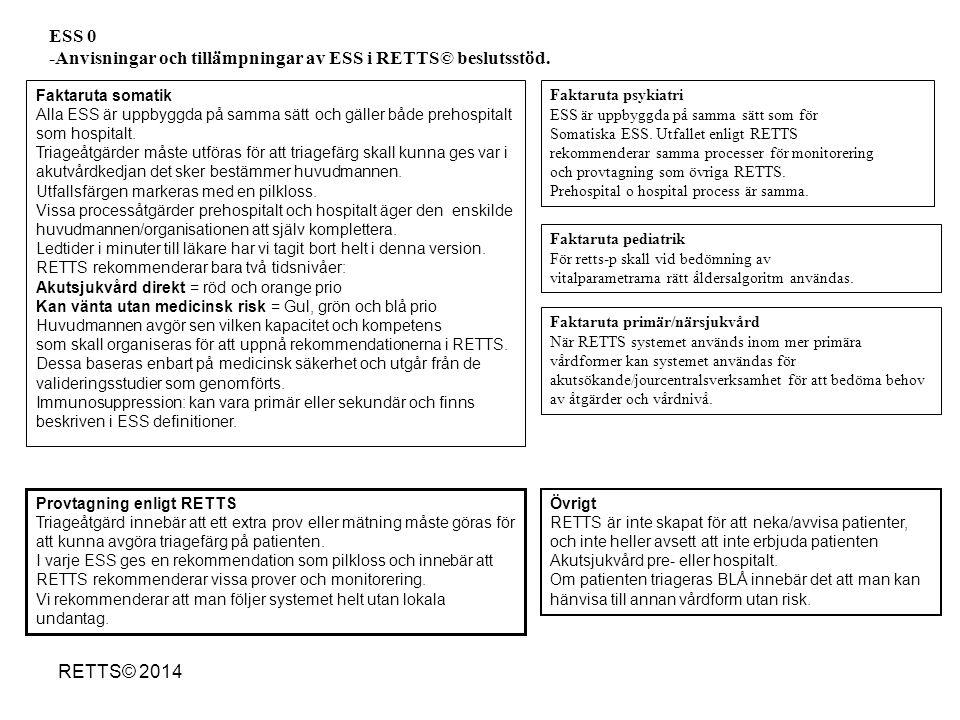 RETTS© 2014 -Subakut insättande sjukdom -Avvikande beteende -Inget av ovanstående - Akut insättande sjukdom UNS - Immunosupprimerad 53.RETTS -Sjukdomskänsla trötthet R53 -Fallbenägenhet R29.6 -Ospecifik sjukdom UNS R69 -Hälsoundersökning Z00 -Intyg misshandel Faktaruta somatik ESS 53 är en ospecifik ESS och det är viktigt att inte slentrianmässigt använda denna ESS utan försöka att vara mer specifik i sitt val.