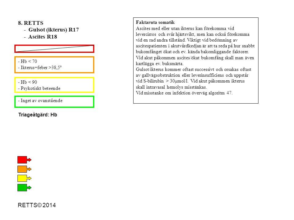 RETTS© 2014 - Hb < 70 - Ikterus+feber >38,5º - Hb < 90 - Psykotiskt beteende - Inget av ovanstående 8. RETTS - Gulsot (ikterus) R17 - Ascites R18 Fakt