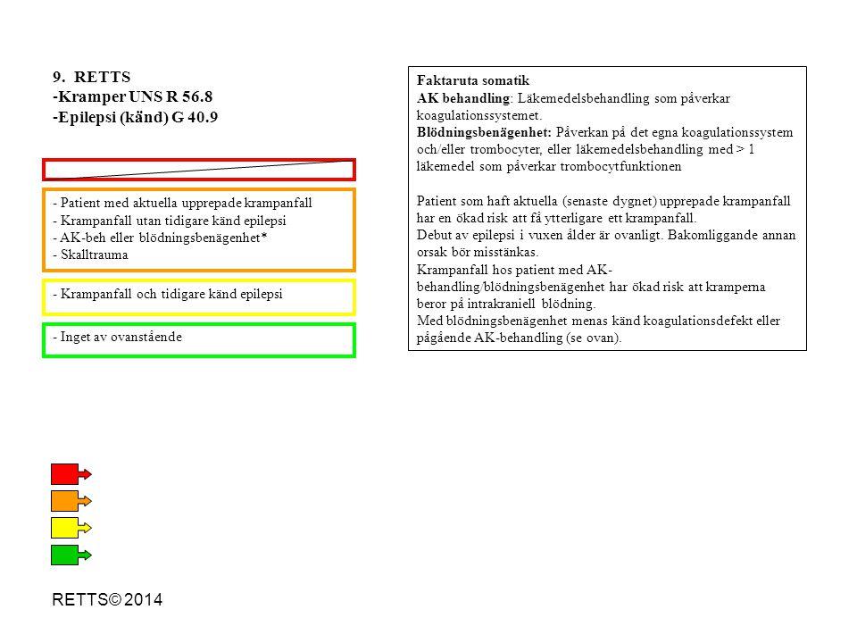 RETTS© 2014 - Patient med aktuella upprepade krampanfall - Krampanfall utan tidigare känd epilepsi - AK-beh eller blödningsbenägenhet* - Skalltrauma -