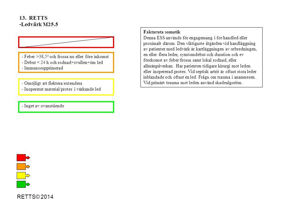 RETTS© 2014 - Feber >38,5 o och frossa nu eller före inkomst - Debut < 24 h och rodnad+svullen+öm led - Immunosupprimerad - Omöjligt att flektera/exte