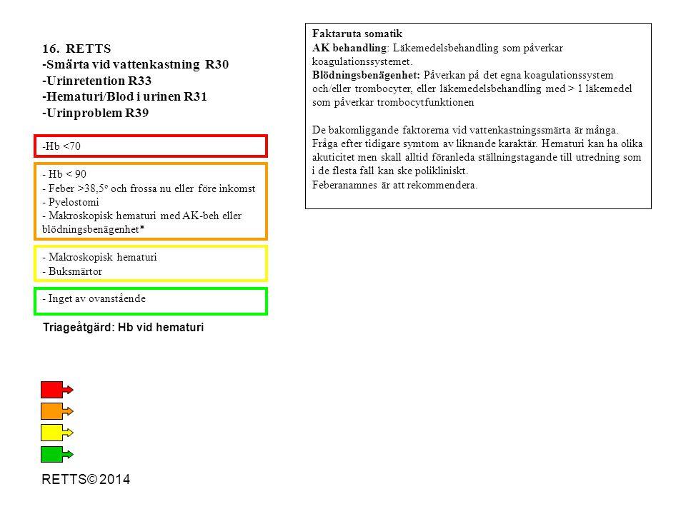 RETTS© 2014 - Hb < 90 - Feber >38,5 o och frossa nu eller före inkomst - Pyelostomi - Makroskopisk hematuri med AK-beh eller blödningsbenägenhet* - Ma