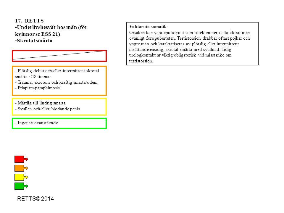 RETTS© 2014 - Plötslig debut och/eller intermittent skrotal smärta <48 timmar - Trauma, skrotum och kraftig smärta/ödem - Priapism/paraphimosis - Mått