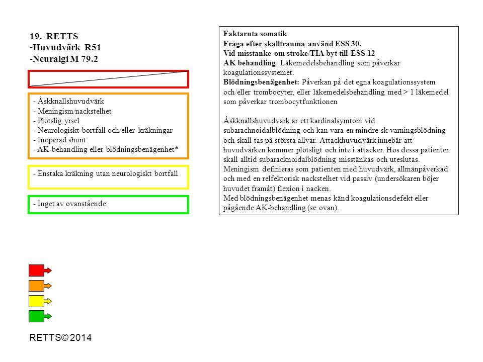 RETTS© 2014 - Åskknallshuvudvärk - Meningism/nackstelhet - Plötslig yrsel - Neurologiskt bortfall och/eller kräkningar - Inoperad shunt - AK-behandlin