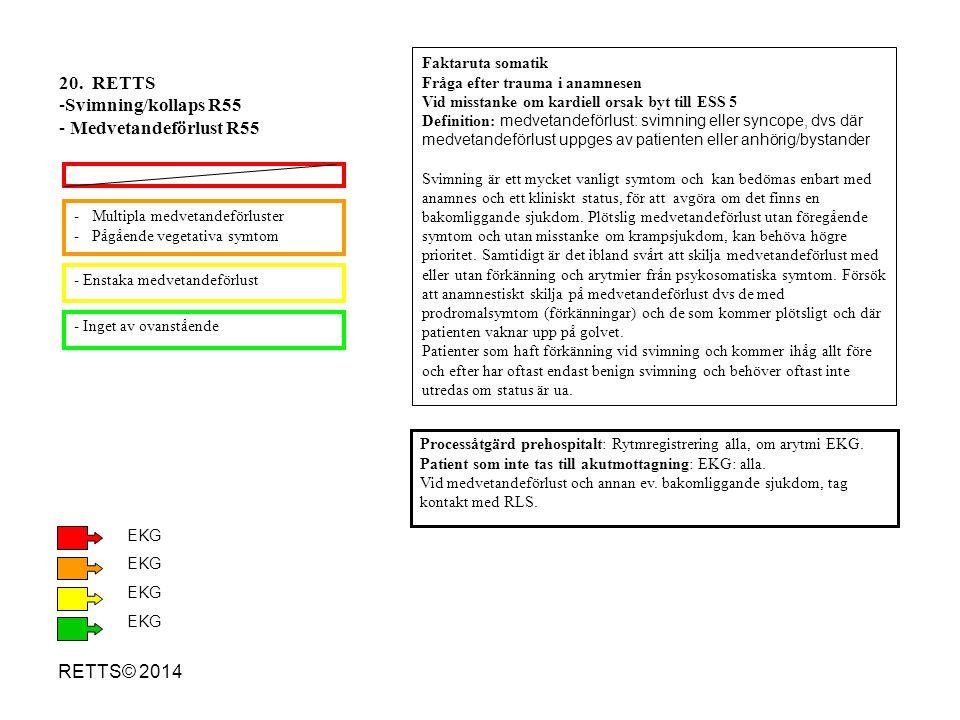 RETTS© 2014 -Multipla medvetandeförluster -Pågående vegetativa symtom - Enstaka medvetandeförlust - Inget av ovanstående 20. RETTS -Svimning/kollaps R