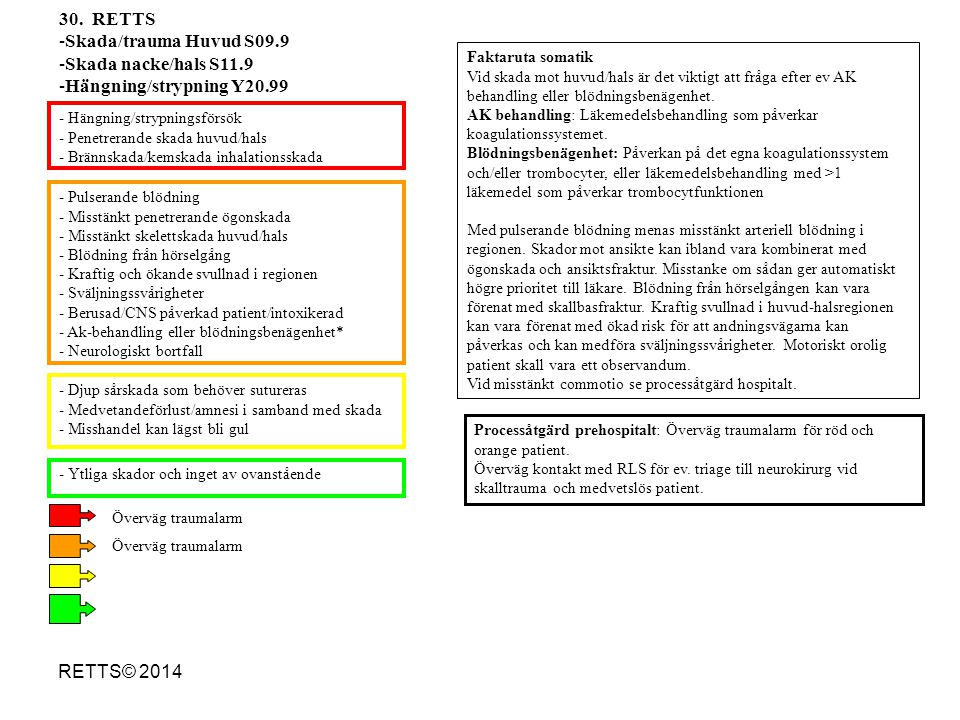 RETTS© 2014 - Pulserande blödning - Misstänkt penetrerande ögonskada - Misstänkt skelettskada huvud/hals - Blödning från hörselgång - Kraftig och ökan