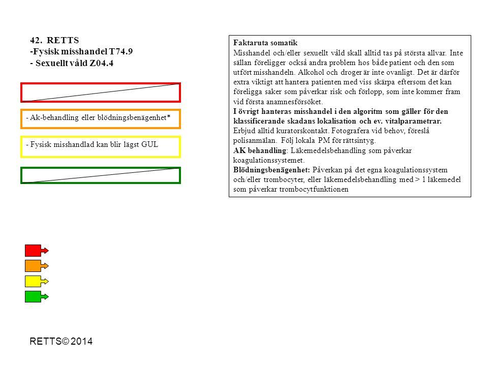 RETTS© 2014 - Fysisk misshandlad kan blir lägst GUL - Ak-behandling eller blödningsbenägenhet* 42. RETTS -Fysisk misshandel T74.9 - Sexuellt våld Z04.