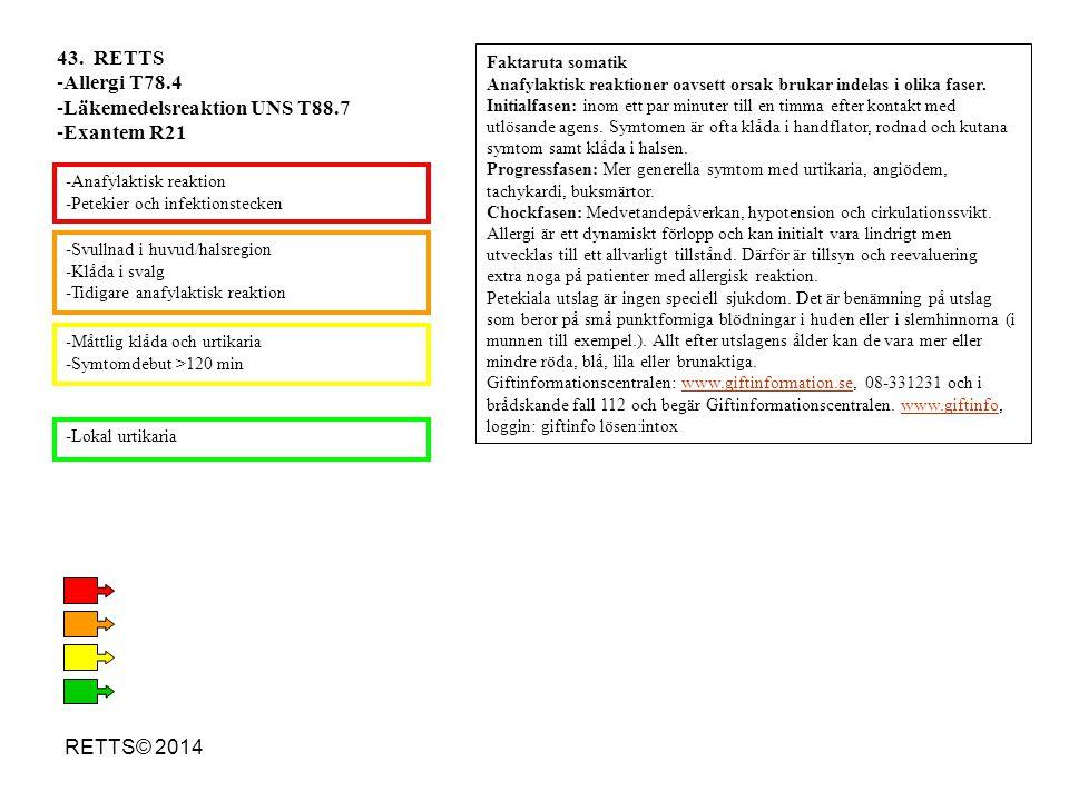 RETTS© 2014 -Svullnad i huvud/halsregion -Klåda i svalg -Tidigare anafylaktisk reaktion -Måttlig klåda och urtikaria -Symtomdebut >120 min -Lokal urti