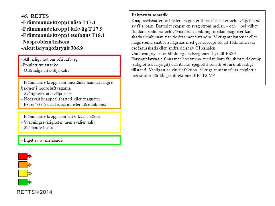 RETTS© 2014 - Främmande kropp som misstänks hamnat längre bak/ner i nedre luftvägarna - Svårigheter att svälja saliv - Nedsvalt knappcellsbatteri elle