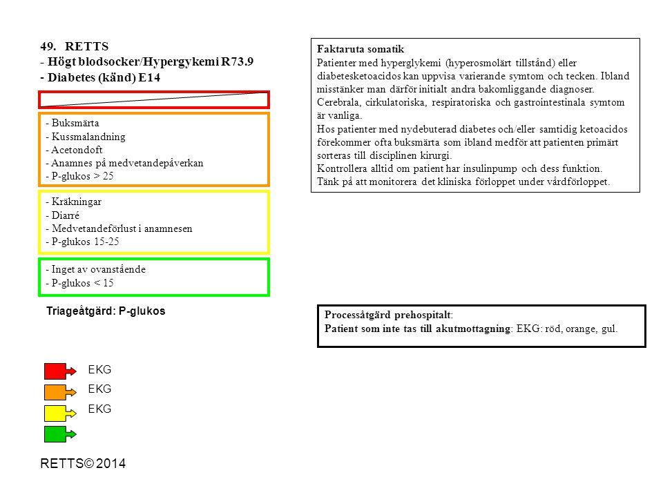 RETTS© 2014 - Buksmärta - Kussmalandning - Acetondoft - Anamnes på medvetandepåverkan - P-glukos > 25 - Kräkningar - Diarré - Medvetandeförlust i anam
