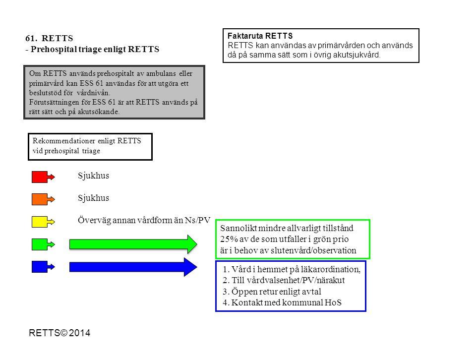 61. RETTS - Prehospital triage enligt RETTS Om RETTS används prehospitalt av ambulans eller primärvård kan ESS 61 användas för att utgöra ett beslutst