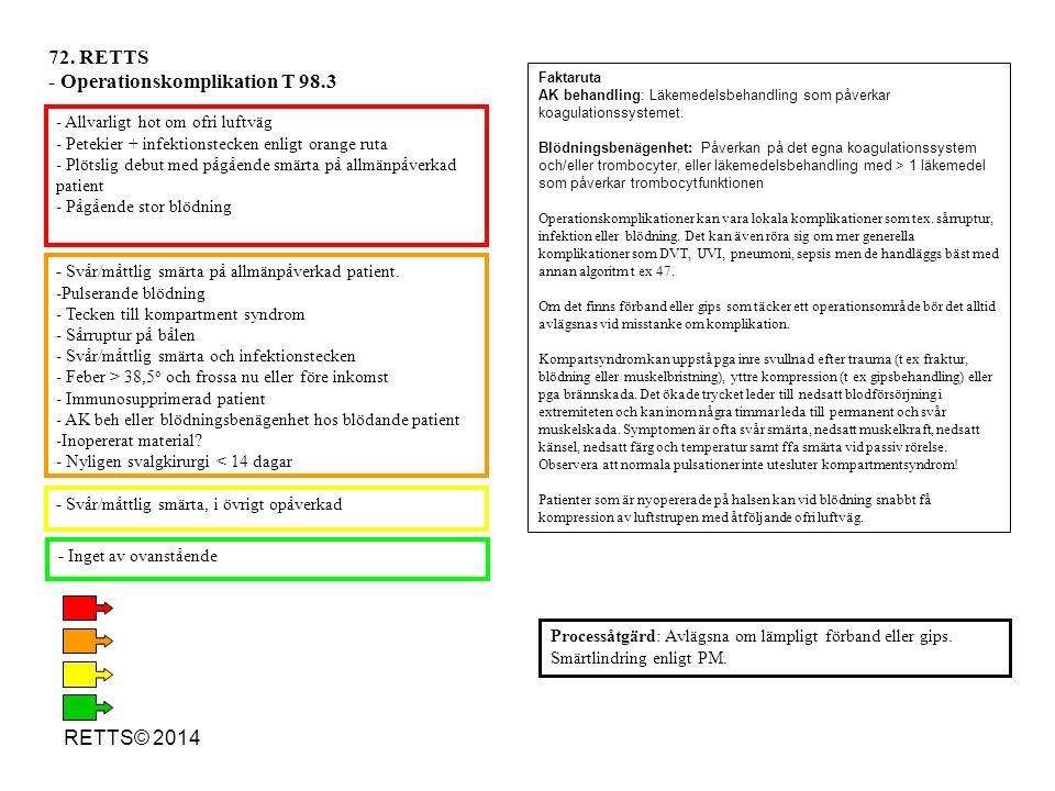 - Svår/måttlig smärta, i övrigt opåverkad - Inget av ovanstående - Allvarligt hot om ofri luftväg - Petekier + infektionstecken enligt orange ruta - P