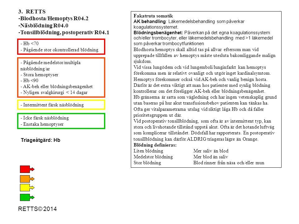 RETTS© 2014 - Nytillkommet neurologiskt bortfall - Urinretention (urinstämma) - Feber >38,5 o och frossa nu eller före inkomst - Thorakal plötslig smärta utan vegetativa symtom - AK-behandling eller blödningsbenägenhet* - Makroskopisk hematuri - Debut/duration >12 h - Tidigare känd terapiresistent smärta - Inget av ovanstående - Plötslig debut med pågående smärta och allmänpåverkan - Thorakal plötsligt smärta med vegetativa symtom (kallsvett, illamående) eller medvetandeförlust 14.