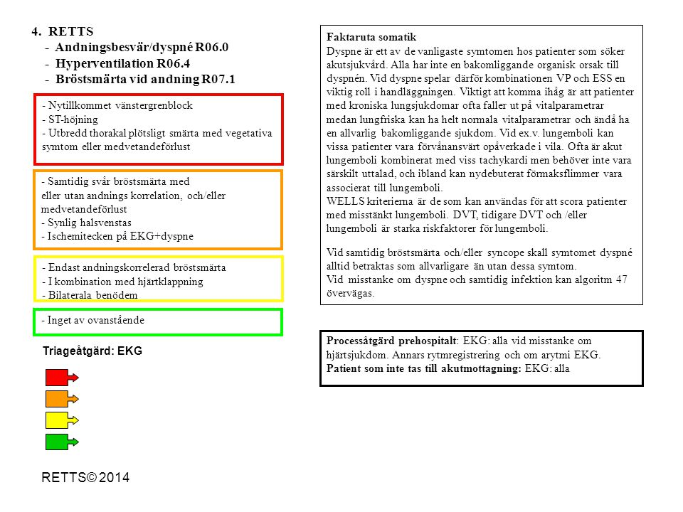 RETTS© 2014 - Nytillkommet vänstergrenblock - ST-höjning - Utbredd thorakal plötsligt smärta med vegetativa symtom eller medvetandeförlust - Ischemitecken på EKG + pågående bröstsmärta - Nyligen/pågående brsm med vegetativa symtom - Brsm/bröstkorgssmärta + andnöd - Brsm som kommer i vila och/eller vid ringa ansträngning - Brsm + medvetandeförlust - Måttlig/lätt brsm men med normalt EKG - Riskfaktorer - Ej nytillkommen bröstsmärta -Inget av ovanstående 5.