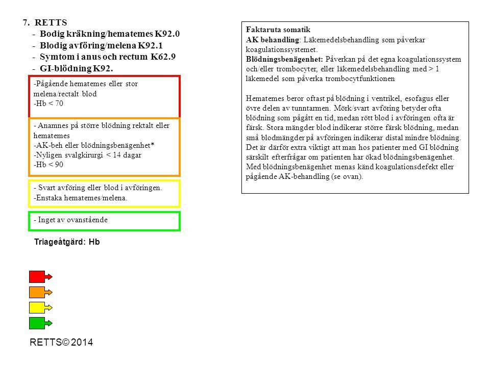 RETTS© 2014 - Åskknallshuvudvärk - Meningism/nackstelhet - Plötslig yrsel - Neurologiskt bortfall och/eller kräkningar - Inoperad shunt - AK-behandling eller blödningsbenägenhet* - Enstaka kräkning utan neurologiskt bortfall - Inget av ovanstående 19.