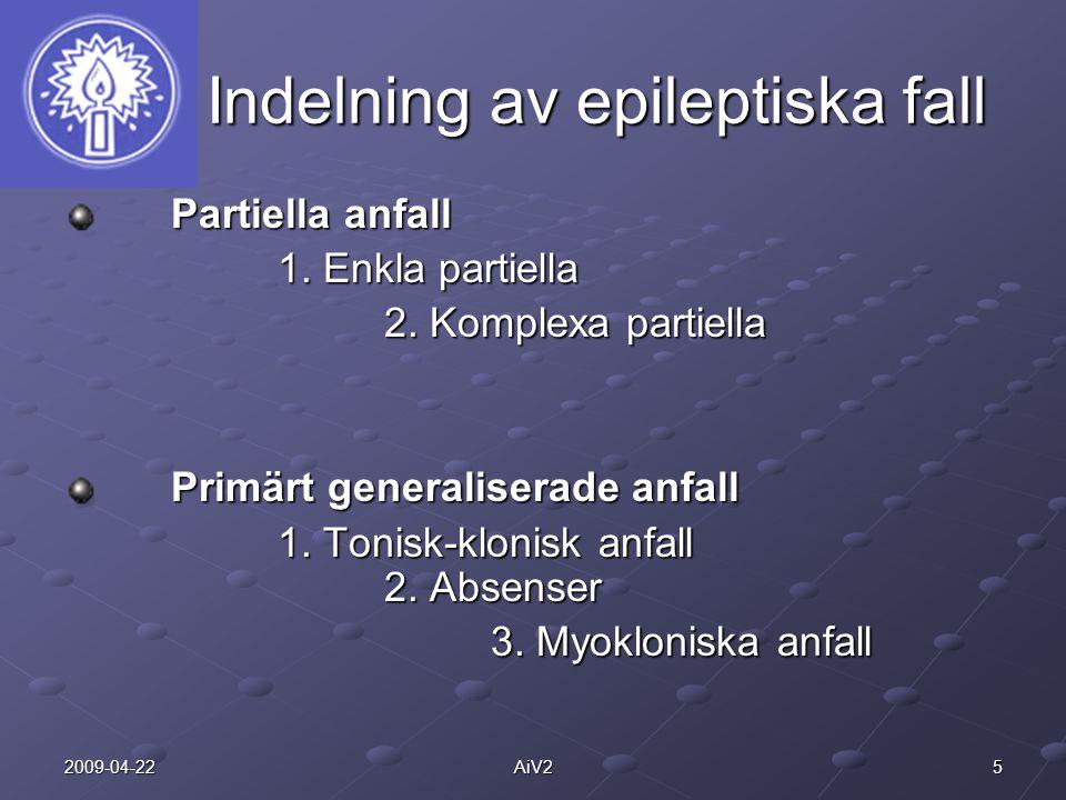 52009-04-22AiV2 Indelning av epileptiska fall Indelning av epileptiska fall Partiella anfall 1. Enkla partiella 2. Komplexa partiella Primärt generali